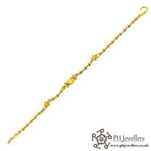 【送料無料】ブレスレット アクセサリ― イエローゴールドキッズブレスレット22ct 916 hallmark yellow gold kids bracelet kb7