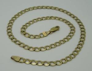 【送料無料】ブレスレット アクセサリ― インチイエローゴールドリンクチェーン**16 inch 9ct hallmarked yellow gold curb link chain 9g*