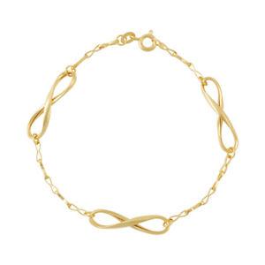 【送料無料】ブレスレット アクセサリ― ゴールドファインレディースレディースデザインソリッドブレスレット9ct gold fine womens ladies infinity design solid bracelet 375 hallmarked 78in