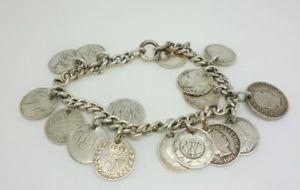 【送料無料】ブレスレット アクセサリ― アンティークスターリングシルバーブレスレットトークンコインantique sterling silver curb bracelet 725 10 engraved love tokens 6 coins