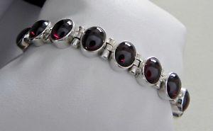 【送料無料】ブレスレット アクセサリ― タイムスタンプヒンジガーネットブレスレットgスターリングシルバーexquisite 24g sterling silver 925 stamped fully hinged garnet gemstone bracelet