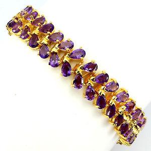 【送料無料】ブレスレット アクセサリ― スターリングシルバーアメジストブレスレットインチsterling silver 925 14 ct gold plated genuine amethyst two row bracelet 7 inches