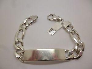 【送料無料】ブレスレット アクセサリ― スターリングシルバーソリッドフィガロリンクブレスレットsterling silver beautiful 8 12 large solid gents id bracelet with figaro link