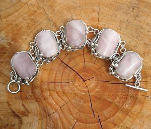 【送料無料】ブレスレット アクセサリ― ビンテージソリッドシルバーローズクォーツブレスレットvintage heavy 925 solid silver rose quartz bracelet