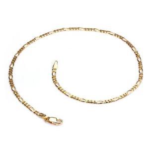 【送料無料】ブレスレット アクセサリ― イエローゴールドフィガロチェーンアンクレット9ct yellow gold figaro chain anklet anklets