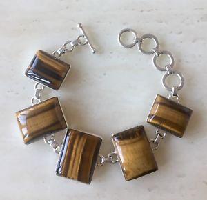 【送料無料】ブレスレット アクセサリ― ヘビータイガータイガーアイスターリングシルバーブレスレットbeautiful heavy tigers tigers eye amp; 925 sterling silver bracelet