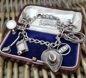 【送料無料】ブレスレット アクセサリ― ビンテージバインダーブレスレットカウボーイvintage binder brothers sterling silver charm bracelet, cowboy charms