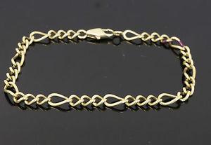【送料無料】ブレスレット アクセサリ― イエローゴールドフィガロブレスレットリンク9ct yellow gold 7 rounded curb figaro bracelet 4mm link width