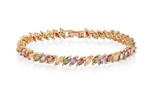 【送料無料】ブレスレット アクセサリ― イエローゴールドブレスレットボックスyellow gold finish marquise cut multicoloured bracelet beautifully gift boxed