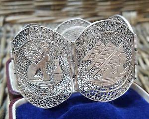 【送料無料】ブレスレット アクセサリ― ビンテージソリッドシルバーブレスレットエジプトvintage solid silver bracelet, egyptian revival,filigree, purity 800, hallmarked