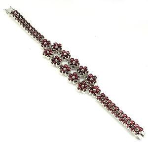 【送料無料】ブレスレット アクセサリ― スターリングシルバーカボションフラワーブレスレットインチsterling silver 925 genuine natural rhodolite cabochon floral bracelet 7 inch