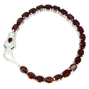 【送料無料】ブレスレット アクセサリ― スターリングシルバーガーネットスネークブレスレットインチsterling silver 925 genuine natural deep red garnet snake bracelet 714 inch