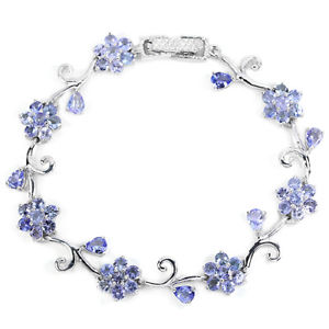 【送料無料】ブレスレット アクセサリ― スターリングシルバータンザナイトフラワーデザインブレスレットインチsterling silver 925 genuine natural tanzanite floral design bracelet 7 inch