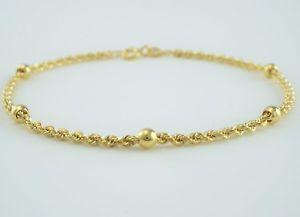 【送料無料】ブレスレット アクセサリ― イエローゴールドロープチェーンボールブレスレット9ct yellow gold rope chain amp; balls bracelet