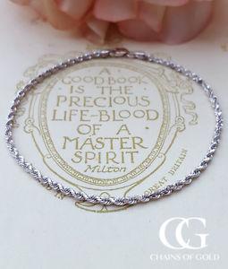 【送料無料】ブレスレット アクセサリ― ホワイトゴールドレディースロープブレスレットfine 9ct white gold ladies rope bracelet 7