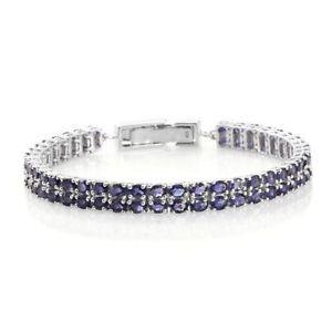 【送料無料】ブレスレット アクセサリ― テニスプラチナシルバーブレスレットアイオライトtennis platinum plated silver bracelet for women with iolite 75 in