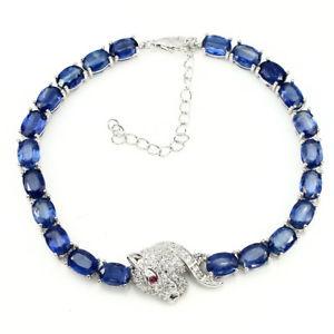 【送料無料】ブレスレット アクセサリ― スターリングシルバーカイアナイトタイガーブレスレットsterling silver 925 genuine natural rich blue kyanite tiger bracelet 7595 in