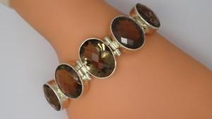 【送料無料】ブレスレット アクセサリ― スターリングシルバースモーキークォーツインチバーブレスレットグラム**stunning sterling silver smokey quartz 8 inch tbar bracelet 509 grams**