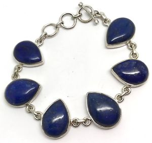 【送料無料】ブレスレット アクセサリ― ラピスラズリブレスレットソリッドスターリングシルバーナシreal lapis lazuli gemstone bracelet, solid sterling silver, actual one, pear
