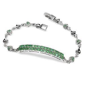 【送料無料】ブレスレット アクセサリ― スターリングシルバーエメラルドハートブレスレットインチsterling silver 925 genuine natural emerald gemstone amp; heart bracelet 75 inch