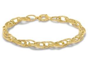 【送料無料】ブレスレット アクセサリ― ソリッドイエローゴールドリンクテクスチャードチェーンブレスレットダブルsolid 9ct yellow gold double link textured chain bracelet 19cm75 womens gift