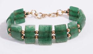 【送料無料】ブレスレット アクセサリ― ヴィンテージイエローゴールドブレスレットvintage 9ct yellow gold amp; green natural aventurine quartz bracelet