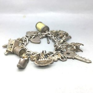 【送料無料】ブレスレット アクセサリ― ビンテージソリッドスターリングシルバーブレスレットロードvintage fully loaded 925 solid sterling silver *16 charms* bracelet  1660