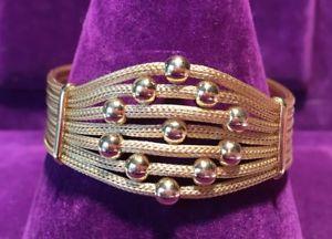 【送料無料】ブレスレット アクセサリ― スターリングシルバーブレスレットゴールド**18ct gold on 925 hallmarked sterling silver bracelet statement high quality