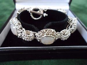 【送料無料】ブレスレット アクセサリ― スターリングシルバーホワイトブレスレットブランドsterling silver white druzy quartz bracelet brand qvc