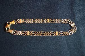 【送料無料】ブレスレット アクセサリ― イエローゴールドダブルフィガロトリガーファスナーブレスレット9ct yellow gold double figaro bracelet with trigger fastener 67g 75