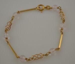 【送料無料】ブレスレット アクセサリ― イエローゴールドピンクブレスレット9ct yellow gold fancy bracelet with pink gemstone