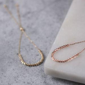【送料無料】ブレスレット アクセサリ― kゴールドビーズブレスレットピンクゴールドブレスレット×9k gold beaded bracelet, adjustable yellow or rose gold delicate bracelet x7