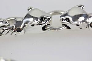 【送料無料】ブレスレット アクセサリ― シルバーリンクブレスレットパンサーズsilver chunky link bracelet with panthers hallmarked 925