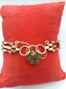 【送料無料】ブレスレット アクセサリ― イエローゴールドバーゲートブレスレット9ct yellow gold 3 bar gate bracelet 82g preowned fully hallmarked