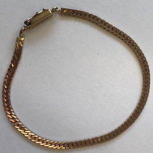 【送料無料】ブレスレット アクセサリ― ビンテージソリッドローズゴールドフラットリンクブレスレットvintage solid 9ct rose gold flat curb link bracelet 195cm 54g 3mm