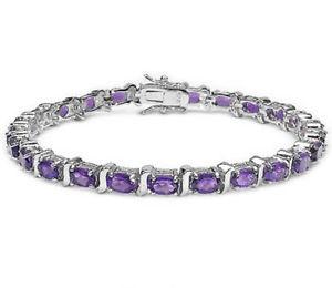 【送料無料】ブレスレット アクセサリ― アメジストインチスターリングシルバーブレスレットamethyst gemstone eternity 77 inch sterling silver bracelet