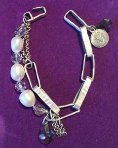 【送料無料】ブレスレット アクセサリ― スターリングシルバーデザイナーブレスレット** 925 *hallmarked sterling silver designer statement real pearls bracelet