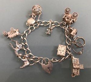 【送料無料】ブレスレット アクセサリ― シルバービンテージブレスレットタイムスタンプsilver vintage charm bracelet weight 5098g length 65 stamped many charms