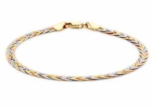 【送料無料】ブレスレット アクセサリ― ゴールドイエローローズホワイトヘリンボーンブレスレットボックス9ct gold yellowrosewhite 3mm plait herringbone bracelet 18cm7 gift boxed