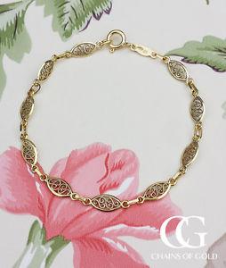 【送料無料】ブレスレット アクセサリ― イエローゴールドレディースブレスレットfine 9ct yellow gold ladies filigree oval bracelet 7