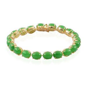 【送料無料】ブレスレット アクセサリ― スターリングシルバーヒスイテニスブレスレットgreen jade tennis bracelet in yellow gold plated sterling silver 75 in