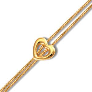 【送料無料】ブレスレット アクセサリ― ロンドンレディースイエローゴールドハートチャームダブルゲージブレスレットjewelco london ladies 9ct yellow gold heart charm double 13mm gauge bracelet