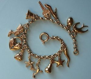 【送料無料】ブレスレット アクセサリ― ゴールドブレスレットlovely 9ct gold charm bracelet