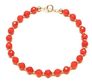 【送料無料】ブレスレット アクセサリ― ゴールドブレスレットビードインチ9ct gold bracelet genuine semiprecious red coral gemstone beads 75 inch