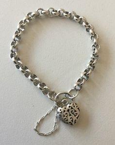 【送料無料】ブレスレット アクセサリ― シルバーベルチャーリンクブレスレットハートクラスプグラムスターリングsterling silver 925 belcher link bracelet with filigree heart clasp 267 grams