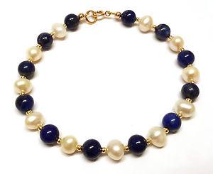 【送料無料】ブレスレット アクセサリ― ゴールドブレスレットラピスラズリビードインチ9ct gold bracelet lapis lazuli gemstone beads amp; white freshwater pearls 75 inch