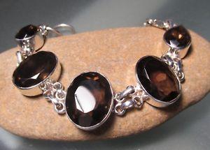 【送料無料】ブレスレット アクセサリ― スターリングシルバースモーキークォーツカットブレスレット925 sterling silver 30gr chunky ovals cut smoky quartz bracelet
