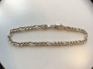【送料無料】ブレスレット アクセサリ― ソリッドゴールドフィガロチェーンブレスレットyellow 9ct solid gold figaro chain bracelet 24g
