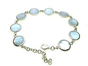 【送料無料】ブレスレット アクセサリ― スターリングシルバーリンクブレスレットsterling silver link bracelet inlaid with mother of pearl adjustable length