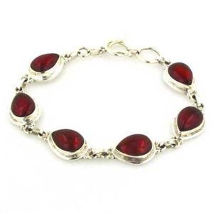 【送料無料】ブレスレット アクセサリ― スターリングシルバーオニキスブレスレットred onyx bracelet in sterling silver